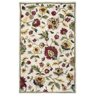 Rizzy Home Transitional Ivory Floral Dimensions Collection Hand-Tufted Accent Rug (3' x 5') - 3' x 5'
