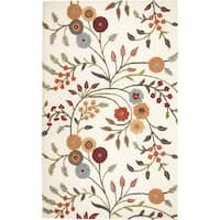 Rizzy Home Transitional White Floral Dimensions Collection Hand-Tufted Accent Rug (3' x 5')