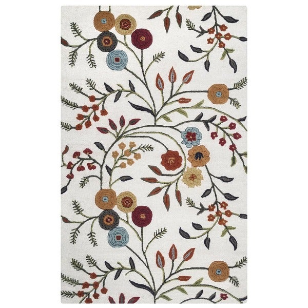 Rizzy Home Transitional White Floral Dimensions Collection Hand-Tufted Accent Rug (3' x 5') - 3' x 5'