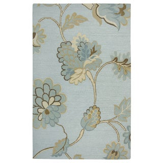 Rizzy Home Transitional Light Blue Floral Dimensions Collection Hand-Tufted Accent Rug (3' x 5')
