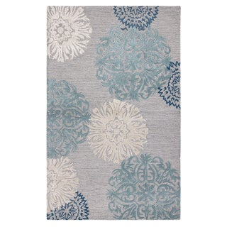 Rizzy Home Transitional Light Grey Floral Dimensions Collection Hand-Tufted Accent Rug (3' x 5')
