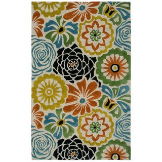 Rizzy Home Transitional Beige Floral Dimensions Collection Hand-Tufted Accent Rug (3' x 5')