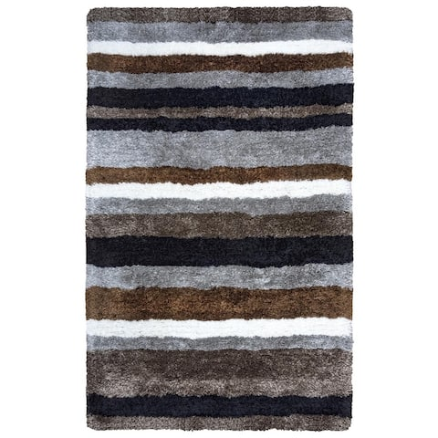 "York Transitional Grey Stripe York Collection Hand-Tufted Accent Rug (3'6 x 5'6) - 3'6"" x 5'6"""