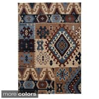 Rizzy Home Southwestern Blue/ Multi Abstract Bellevue Collection Power-Loomed Accent Rug - 7'10 x 10'10
