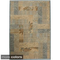 Rizzy Home Transitional Blue/ Red Abstract Bellevue Collection Power-Loomed Accent Rug - 9'2 x 12'6