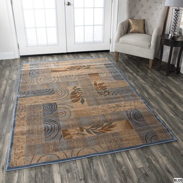 Rizzy Home Transitional Blue/ Red Abstract Bellevue Collection Power-Loomed Accent Rug (9'2 x 12'6)