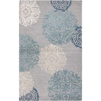 Rizzy Home Transitional Light Grey Floral Dimensions Collection Hand-Tufted Accent Rug (8' x 10') - 8' x 10'