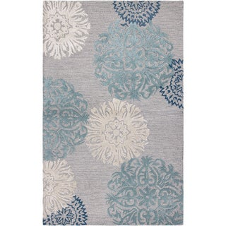 Rizzy Home Transitional Light Grey Floral Dimensions Collection Hand Tufted  Accent Rug (8u0027