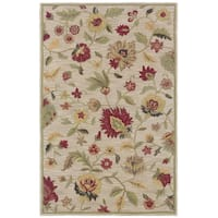 Rizzy Home Transitional Ivory Floral Dimensions Collection Hand-Tufted Accent Rug (9' x 12') - 9' x 12'