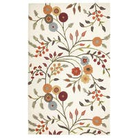 Charming Transitional White Floral Charming Collection Hand-Tufted Accent Rug (9' x 12') - 9' x 12'