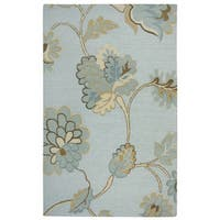 Rizzy Home Transitional Light Blue Floral Dimensions Collection Hand-Tufted Accent Rug (9' x 12')