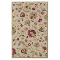Rizzy Home Transitional Ivory Floral Dimensions Collection Hand-Tufted Accent Rug (2' x 3') - 2' x 3'