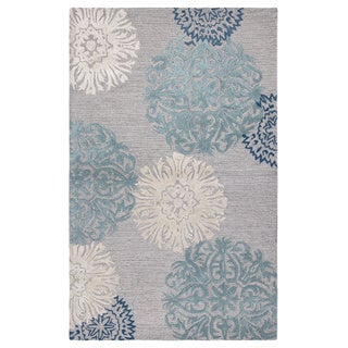 Rizzy Home Transitional Light Grey Floral Dimensions Collection Hand-Tufted Accent Rug - 2' x 3'