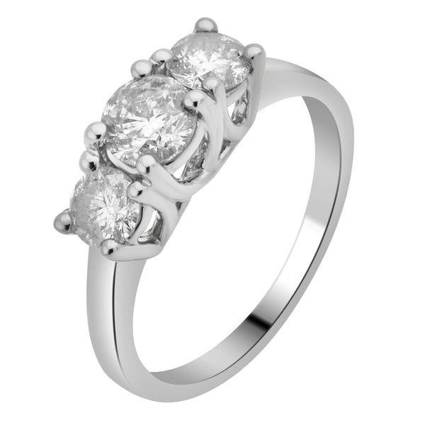 Divina 14KT White Gold 2ct TDW Diamond 3-stone Anniversary Ring