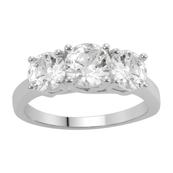 Divina 14k White Gold 2ct TDW Diamond 3-stone Anniversary Ring