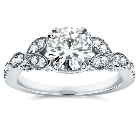 Annello by Kobelli 14k White Gold 1 1/5ct TGW Round-cut Moissanite and Diamond Vintage Floral Engagement Ring