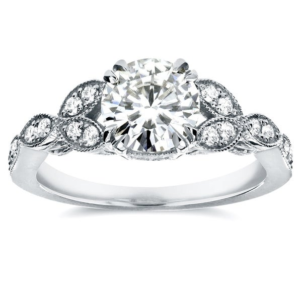 Annello by Kobelli 14k White Gold 1 1/5ct TGW Round-cut Moissanite (HI) and Diamond Vintage Floral Engagement Ring