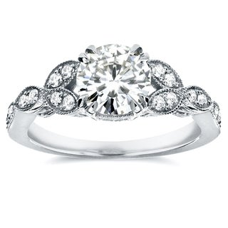 Annello by Kobelli 14k White Gold Round-cut Moissanite and 1/5 ct TDW Diamond Floral Vintage Engagement Ring
