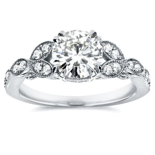 Annello 14k White Gold Round-cut Moissanite and 1/5 ct TDW Diamond Antique Floral Engagement Ring (G-H, I1-I2)