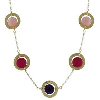 Luxiro Gold Finish Jade Gemstone Hammered Disc Necklace
