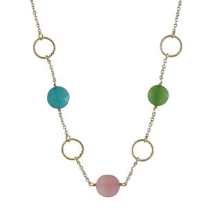 Luxiro Gold Finish Jade Gemstone Open Circles Link Necklace