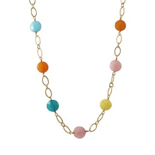 Luxiro Gold Finish Jade Gemstone Open Ovals Link Necklace
