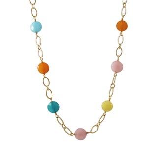 Luxiro Gold Finish Jade Gemstone Open Ovals Link Necklace - Blue