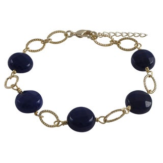 Luxiro Gold Finish Jade Gemstone Open Ovals Bracelet