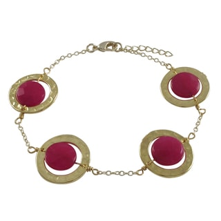 Luxiro Gold Finish Fuchsia Jade Gemstone Hammered Disc Bracelet