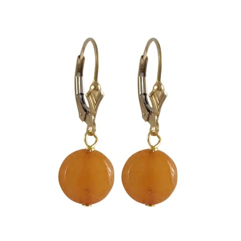 Luxiro Gold Filled Jade Gemstone Disc Dangle Earrings