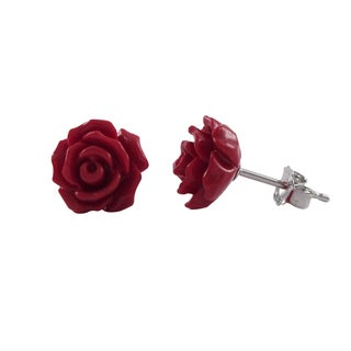 Luxiro Sterling Silver Children's 9 mm Red Rose Flower Stud Earrings