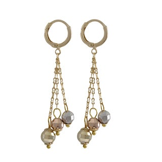 Luxiro Gold Finish Tri-color Faceted Balls Tassel Dangle Earrings - Silver