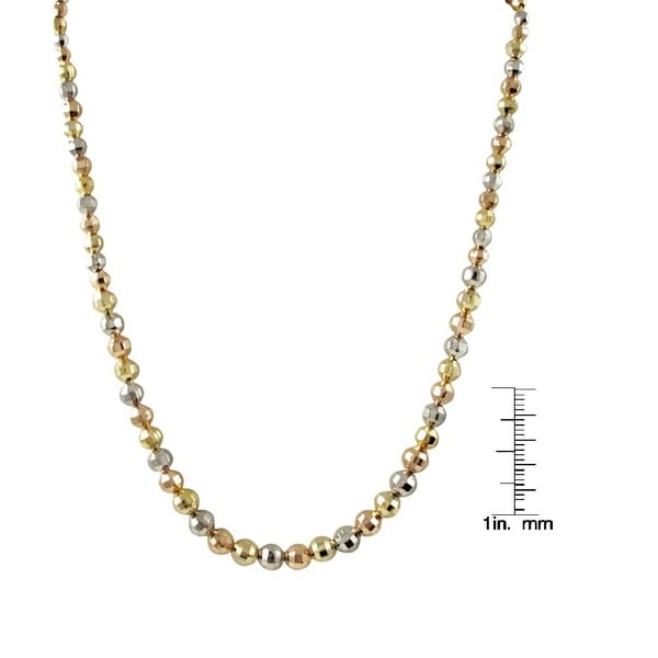 Tri Color Gold Finish Graduated Faceted Faceted Ball Necklace
