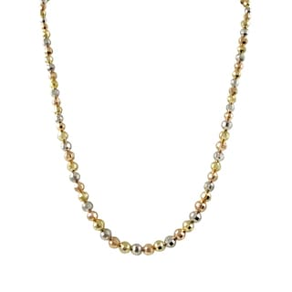 Luxiro Gold Finish Tri-color Faceted Balls Bead Necklace