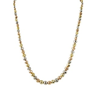 Luxiro Gold Finish Tri-color Faceted Balls Bead Necklace - Silver