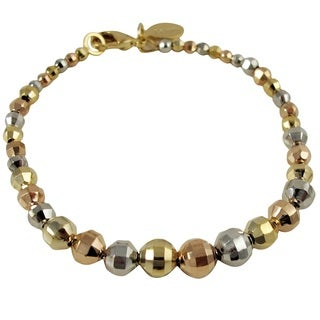 Luxiro Gold Finish Tri-color Faceted Balls Bead Bracelet