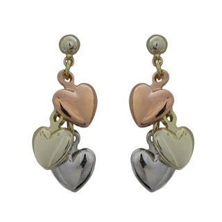 Luxiro Gold Finish Tri-color Children's Flat Hearts Dangle Earrings