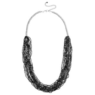 Alexa Starr Antiqued Rhodium-plated Mutli-strand Seed Bead Necklace