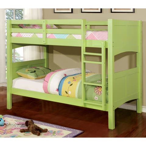 Furniture of America Pice Modern Twin over Twin Ladder Bunk Bed