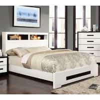 Furniture of America Kize Contemporary Two-Tone Platform Bed with Light-Up Bookcase