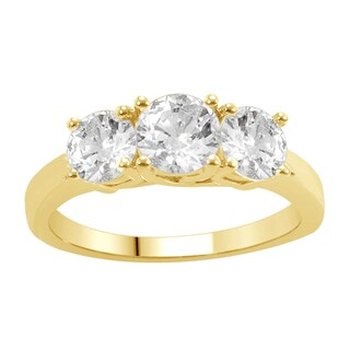 Divina 14KT Yellow Gold 1ct TDW Diamond 3-stone Anniversary Ring