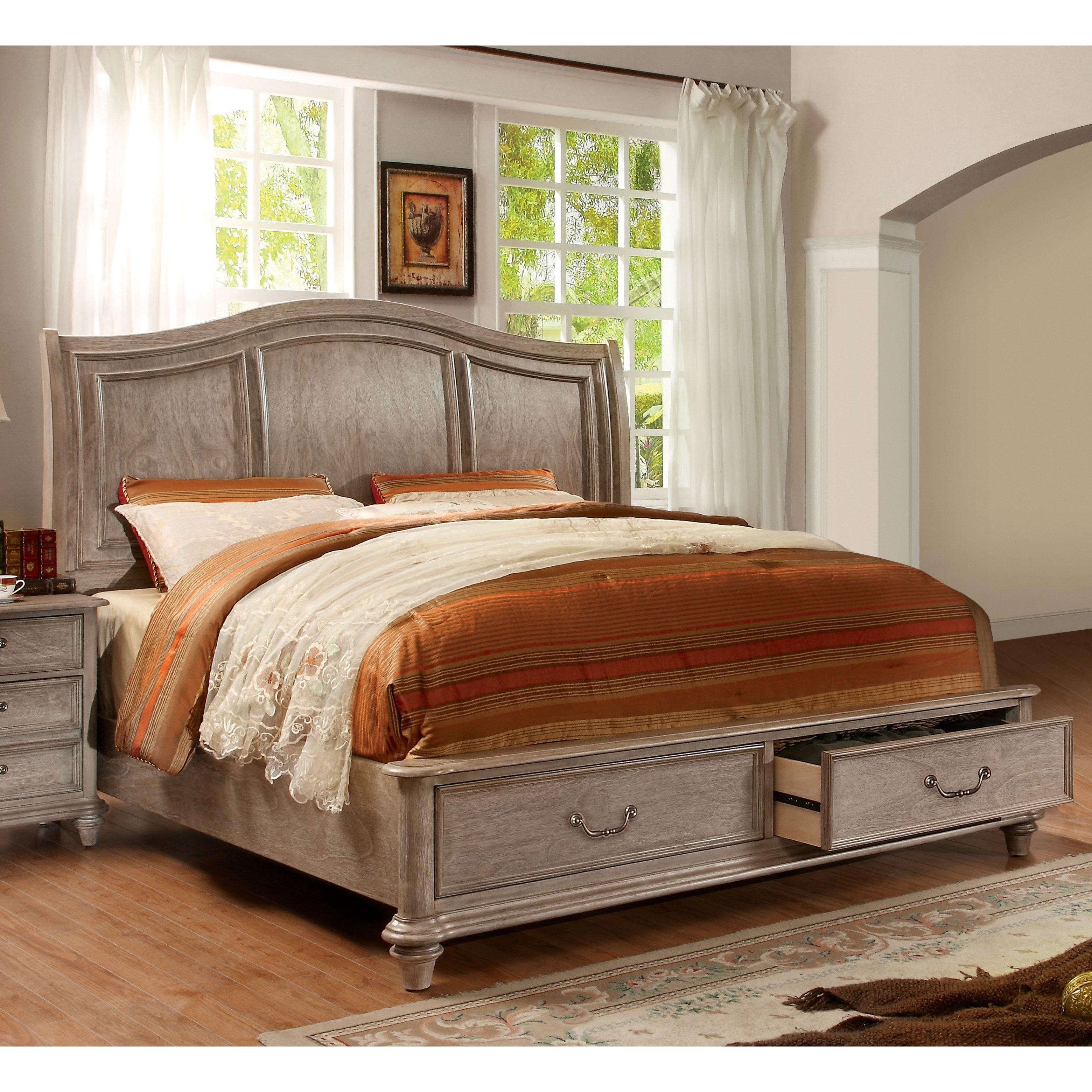 Furniture of America Minka III Rustic Grey Storage Platfo...