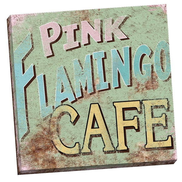 Portfolio Canvas Decor Vintage Signs - Pink Flamingo Square by IHD Studio  24x24, Ready to Hang
