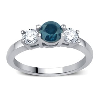 Divina 14k White Gold 1 3/4ct TDW Blue and White Diamond 3-stone Ring