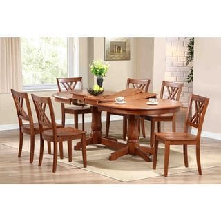 7-piece Cinnamon Oval Double X-Back Dining Set