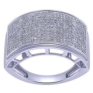 Sterling Silver Men's 4/5ct TDW White Diamond Ring (G-H, I2-I3)