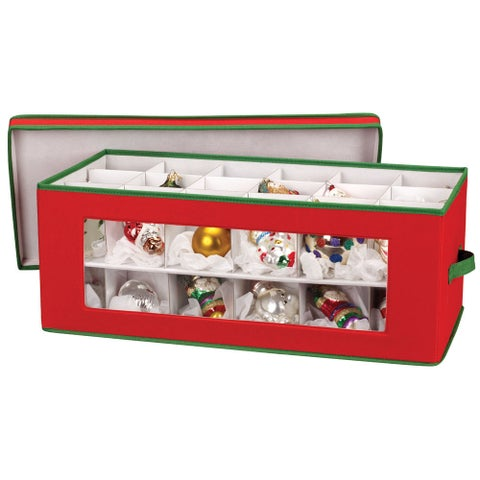 36-piece Red Holiday Ornament Storage Chest