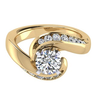 14k Yellow Gold 1/2ct TDW Diamond and Cubic Zirconia Swirl Engagement Ring (H-I, I1-I2)