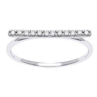 10k White Gold 1/8ct TDW Diamond Stackable Bar Ring