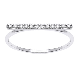 Beverly Hills Charm 10k White Gold 1/8ct TDW Diamond Stackable Bar Ring